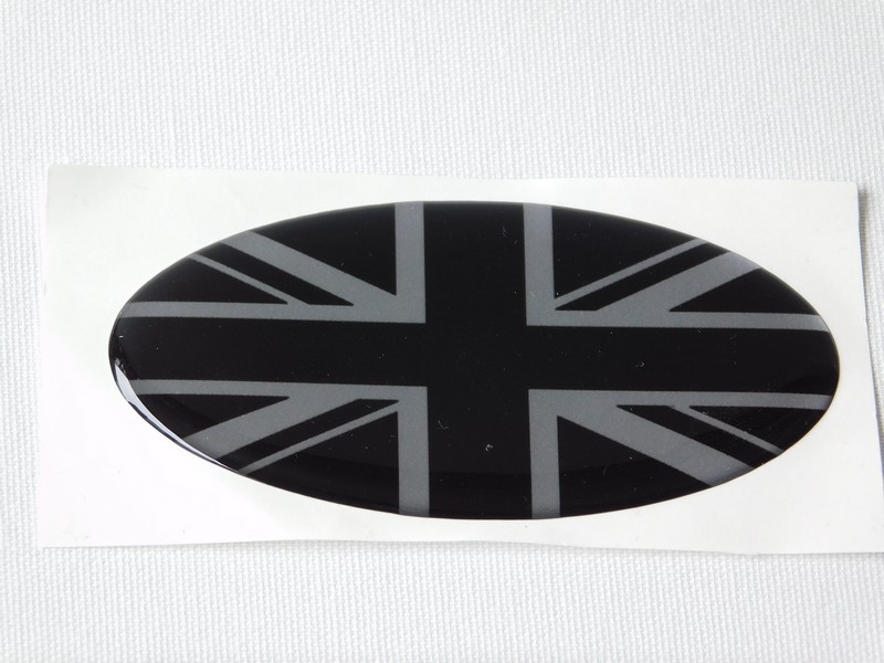 Oval Vinyl Union Jack Badges (Green and Gold