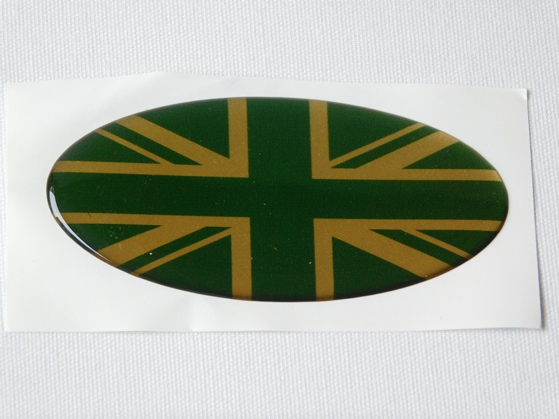 Oval Vinyl Union Jack Badges (Green and Gold or Black and Silver)